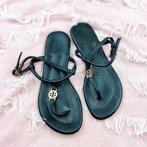 Tory Burch Emmy Black Flat Thong Sandals Logo